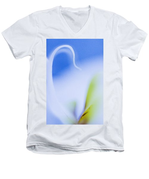 Men's V-Neck T-Shirt featuring the photograph Blue Orchid Abstract by Bradley R Youngberg