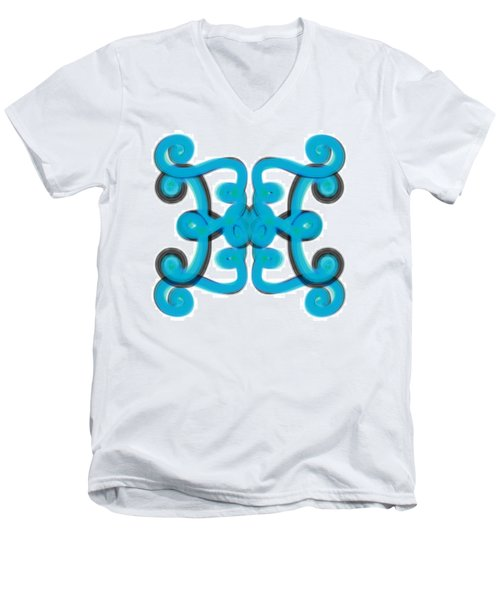 Men's V-Neck T-Shirt featuring the digital art Blue Scroll Square by Christine Fournier