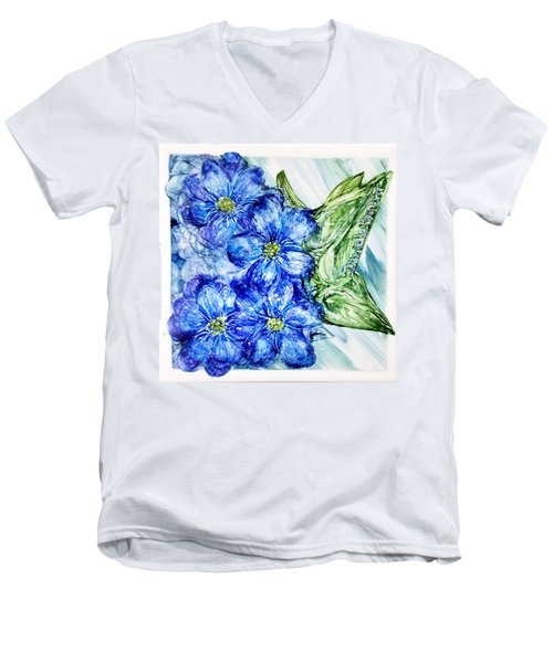 Blue Springy Flowers Alcohol Inks Men's V-Neck T-Shirt
