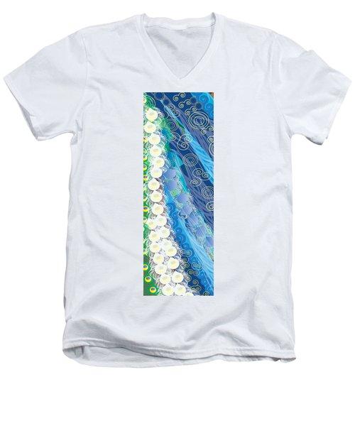 Men's V-Neck T-Shirt featuring the digital art Blue Swirls Detail by Kim Prowse