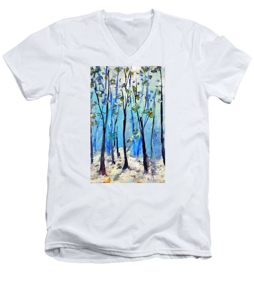 Blue Thoughts In Winter Men's V-Neck T-Shirt