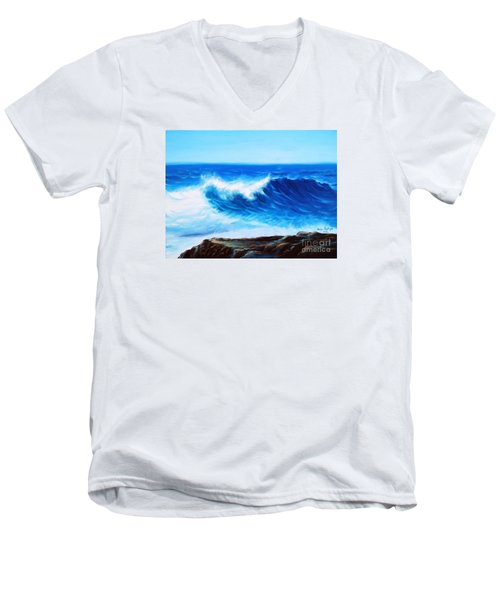 Men's V-Neck T-Shirt featuring the painting Blue by Vesna Martinjak