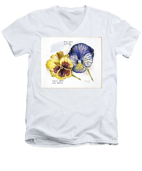 Blue Yellow Pansies Men's V-Neck T-Shirt