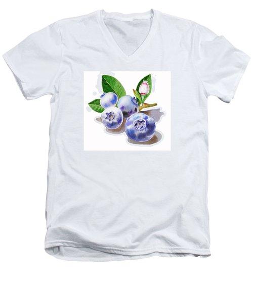 Artz Vitamins The Blueberries Men's V-Neck T-Shirt by Irina Sztukowski