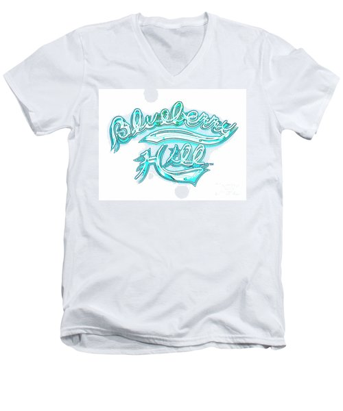 Blueberry Hill Inverted In Neon Blue Men's V-Neck T-Shirt by Kelly Awad