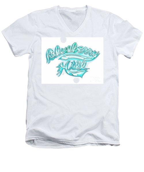 Blueberry Hill Inverted In Neon Blue Men's V-Neck T-Shirt