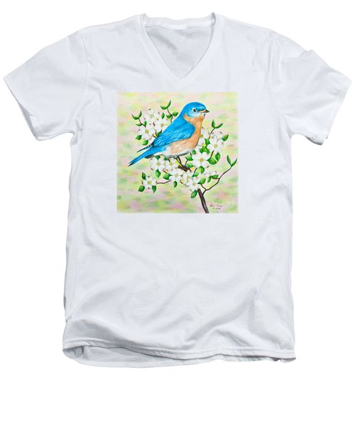 Bluebird And Dogwood Men's V-Neck T-Shirt by Lena Auxier