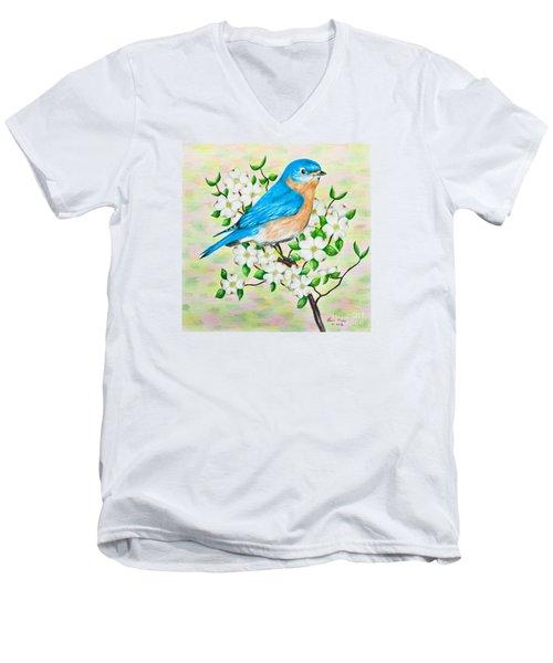 Bluebird And Dogwood Men's V-Neck T-Shirt