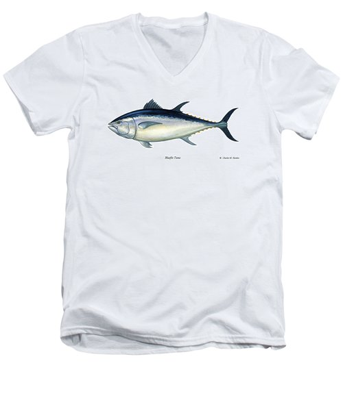 Bluefin Tuna Men's V-Neck T-Shirt by Charles Harden
