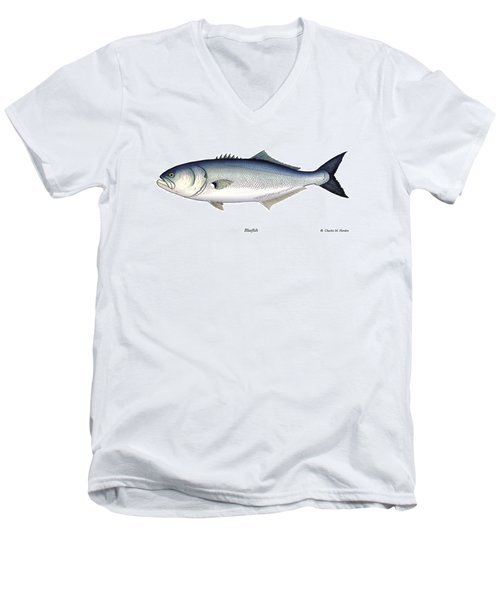 Bluefish Men's V-Neck T-Shirt by Charles Harden