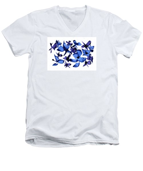 Men's V-Neck T-Shirt featuring the mixed media Blues And Violets by Frank Bright