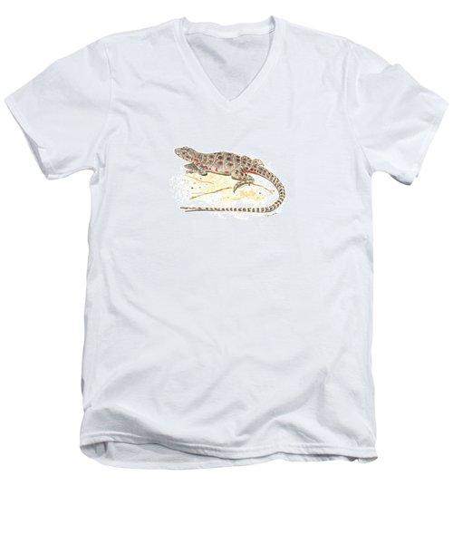 Blunt-nosed Leopard Lizard  Men's V-Neck T-Shirt by Cindy Hitchcock