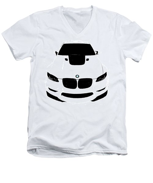 Men's V-Neck T-Shirt featuring the digital art Bmw White by J Anthony