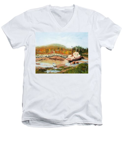 Men's V-Neck T-Shirt featuring the painting Boat At Bic Quebec by Michael Daniels
