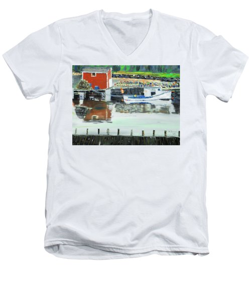 Men's V-Neck T-Shirt featuring the painting Boat At Louisburg Ns by Michael Daniels