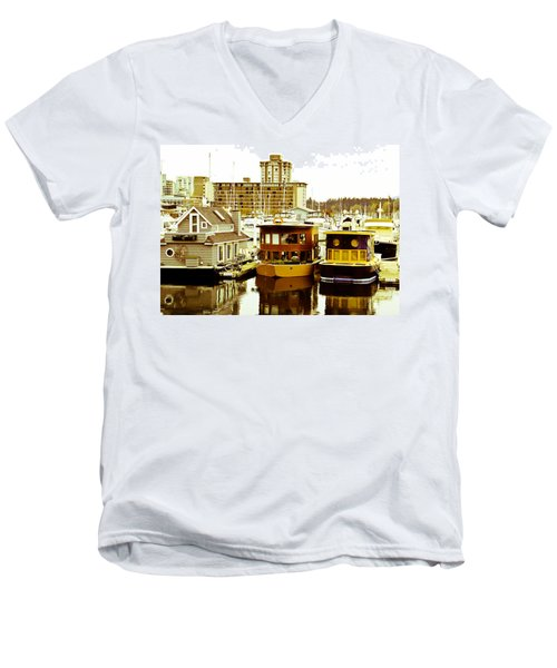 Men's V-Neck T-Shirt featuring the photograph Boathouses by Eti Reid