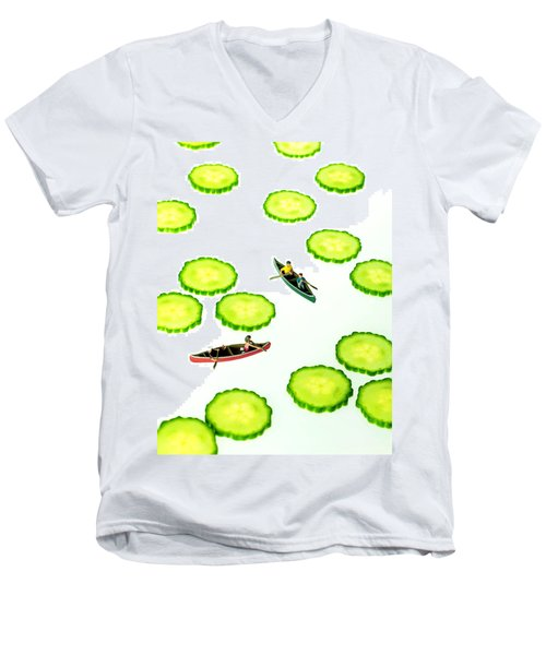 Boating Among Cucumber Slices Miniature Art Men's V-Neck T-Shirt