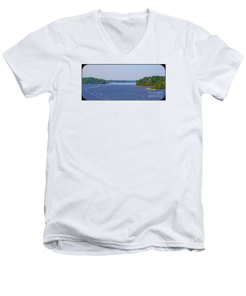 Men's V-Neck T-Shirt featuring the photograph Boating On The Severn River by Patti Whitten