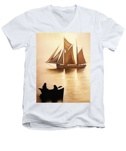 Men's V-Neck T-Shirt featuring the painting Boats In Sun Light by Janice Dunbar