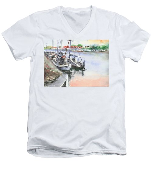 Men's V-Neck T-Shirt featuring the painting Boats Inshore by Faruk Koksal