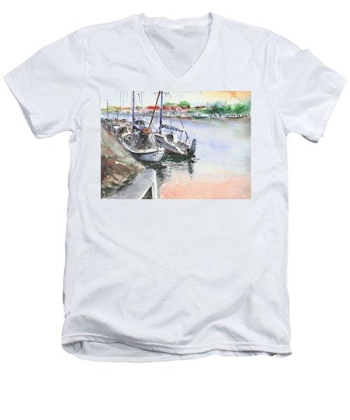Boats Inshore Men's V-Neck T-Shirt by Faruk Koksal