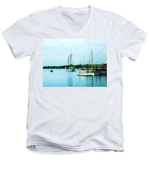Men's V-Neck T-Shirt featuring the photograph Boats On A Calm Sea by Susan Savad