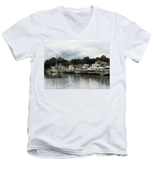 Boats On A Cloudy Day Essex Ct Men's V-Neck T-Shirt by Susan Savad