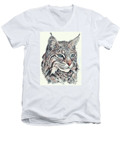 Men's V-Neck T-Shirt featuring the drawing Bobcat Portrait by VLee Watson