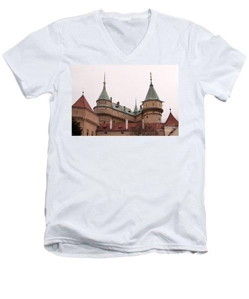 Men's V-Neck T-Shirt featuring the photograph Bojnice Castle by Les Palenik