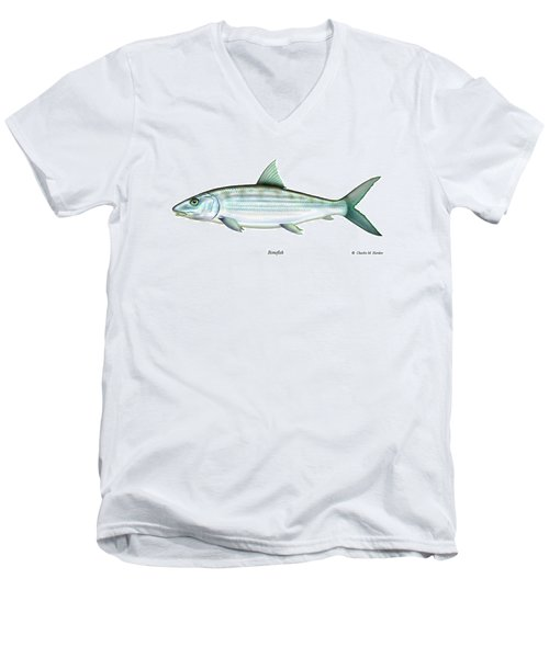 Bonefish Men's V-Neck T-Shirt by Charles Harden