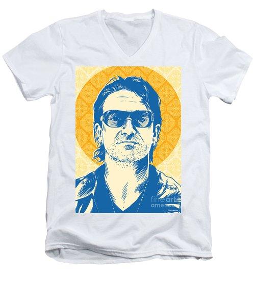 Bono Pop Art Men's V-Neck T-Shirt by Jim Zahniser