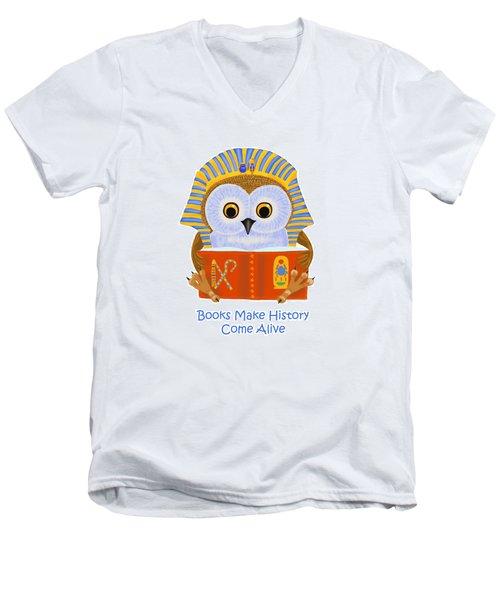 Books Make History Come Alive Men's V-Neck T-Shirt by Leena Pekkalainen