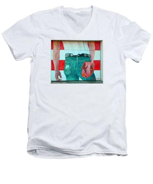 Born In The Usa Urban Garage Door Mural Men's V-Neck T-Shirt by Chris Berry