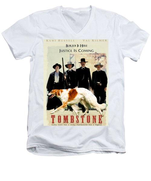 Borzoi Art - Tombstone Movie Poster Men's V-Neck T-Shirt