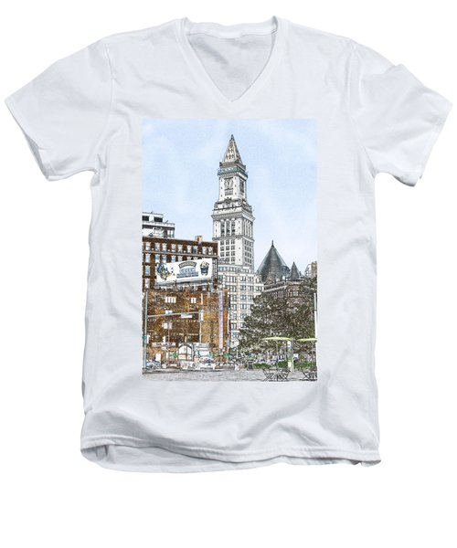 Boston Custom House Tower Men's V-Neck T-Shirt