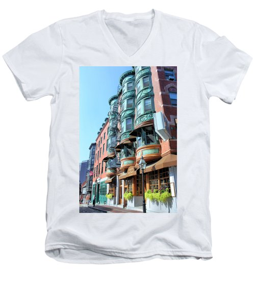 Men's V-Neck T-Shirt featuring the photograph Boston Ma by Kristin Elmquist