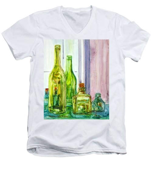 Bottles - Shades Of Green Men's V-Neck T-Shirt