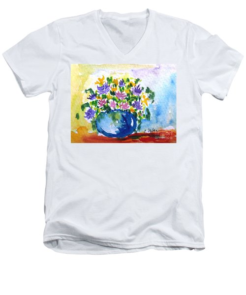 Bouquet Of Flowers In A Vase Men's V-Neck T-Shirt