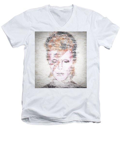 Bowie Typo Men's V-Neck T-Shirt by Taylan Apukovska