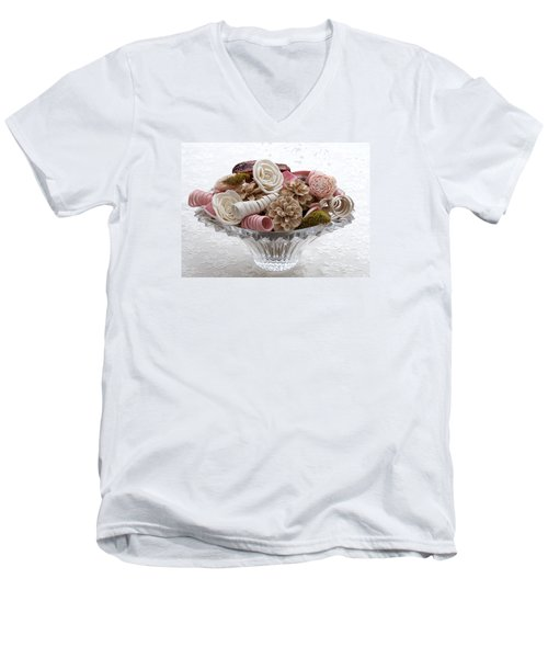 Bowl Of Potpourri On Lace Men's V-Neck T-Shirt by Connie Fox
