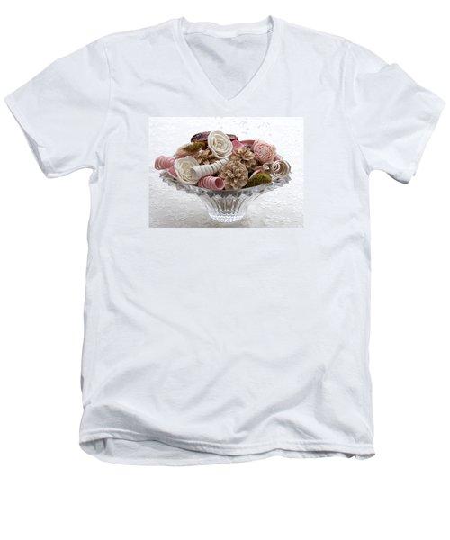 Bowl Of Potpourri On Lace Men's V-Neck T-Shirt