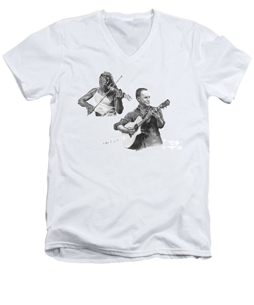 Men's V-Neck T-Shirt featuring the drawing Boyd And Dave by Marianne NANA Betts