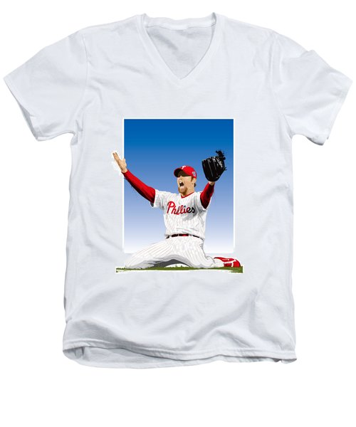 Brad Lidge Champion Men's V-Neck T-Shirt by Scott Weigner