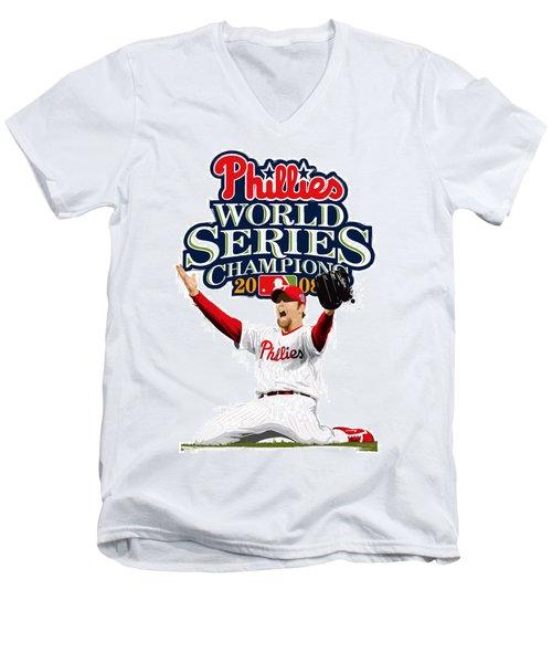 Brad Lidge Ws Champs Logo Men's V-Neck T-Shirt by Scott Weigner