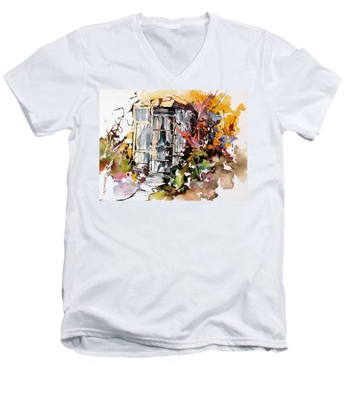 Men's V-Neck T-Shirt featuring the painting Brambles by Rae Andrews