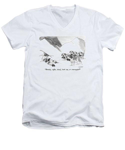 Brandy, Coffee, Decaf, Herb Tea, Or Cran-apple? Men's V-Neck T-Shirt