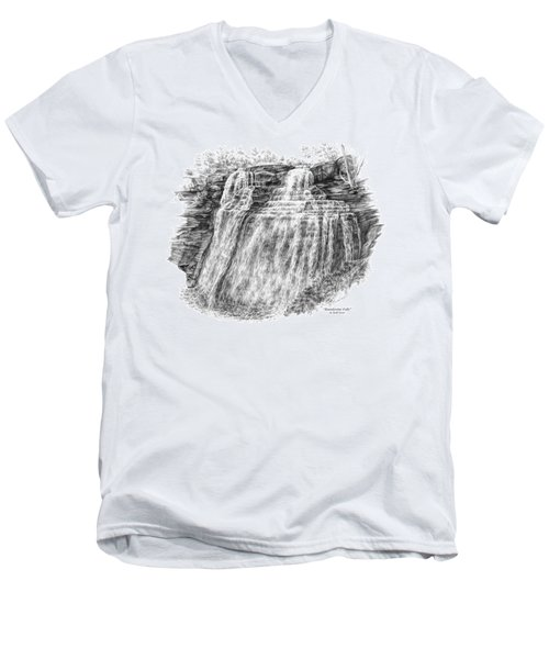 Men's V-Neck T-Shirt featuring the drawing Brandywine Falls - Cuyahoga Valley National Park by Kelli Swan
