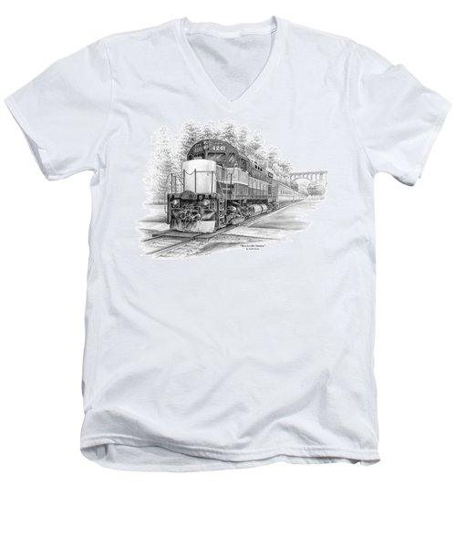 Men's V-Neck T-Shirt featuring the drawing Brecksville Station - Cuyahoga Valley National Park by Kelli Swan