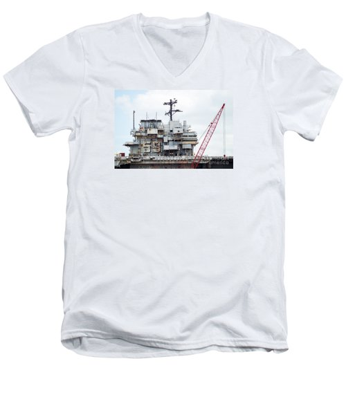 Uss Forrestal Bridge Men's V-Neck T-Shirt