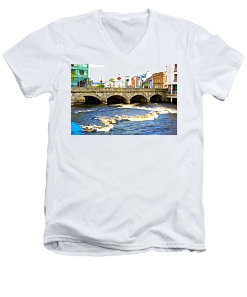 Men's V-Neck T-Shirt featuring the photograph Bridge On The Garavogue by Charlie and Norma Brock